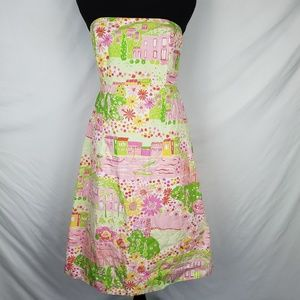 Lilly Pulitzer Strapless Tie Back Dress Size 8